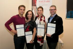 Prvi prejemniki certifikatov v Sloveniji: Damir Halužan, Anna Mashchyts, Varja Vitorovič in Rok Cerkvenik.